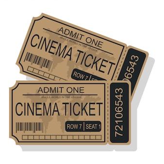 Ilustração do vetor do bilhete do cinema isolada em um fundo branco.
