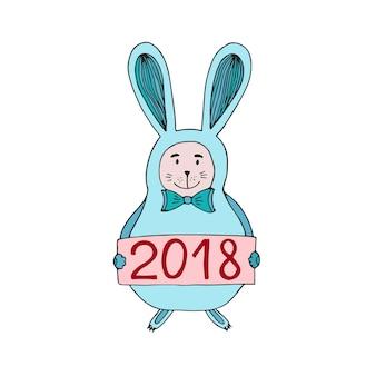 Ilustração do vetor do coelho bonito do natal com o número 2018. cartão de ano novo.