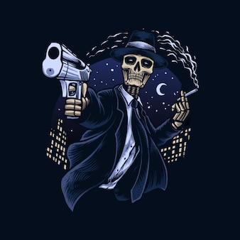 Ilustração do vetor do crânio do gangster da máfia