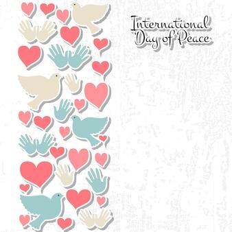 Ilustração do vetor do dia internacional da paz. ícones do dia da paz do estilo do design plano. emblemas do dia da paz com pombo, coração, mão. modelo de dia da paz para cartão postal, cartão de convite, impressão