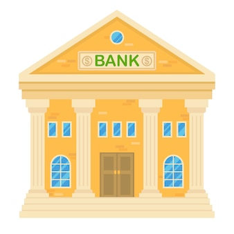 Ilustração do vetor do edifício de banco retro. fachada de uma casa clássica em estilo simples. edifício da cidade de dois andares com banco.