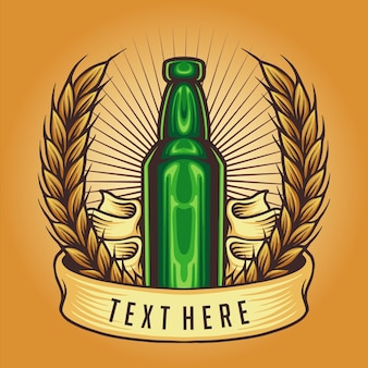 Ilustração do vetor do emblema do vintage da garrafa para o seu trabalho logotipo, t-shirt da mercadoria do mascote, adesivos e designs de etiqueta, cartaz, cartões comemorativos anunciando a empresa ou marcas.