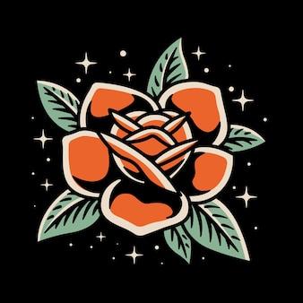 Ilustração do vetor do estilo japan rose tatto ilustração no fundo isolado
