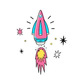 Ilustração do vetor do foguete e das estrelas de espaço.