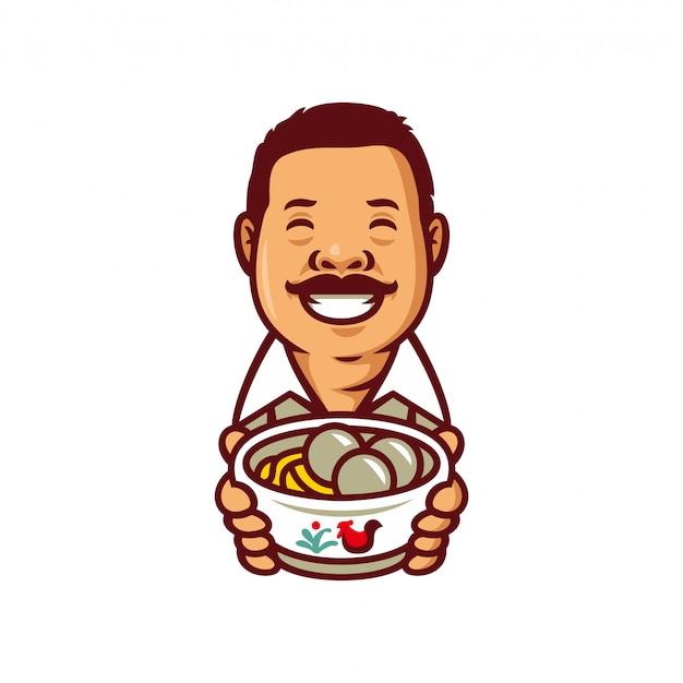 Ilustração do vetor do molde do logotipo da mascote do chef do bakso da almôndega