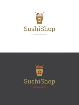 Ilustração do vetor do molde do logotipo do emblema do restaurante de sushi.