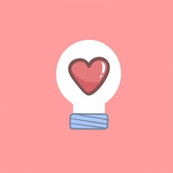 Ilustração do vetor do símbolo da lâmpada do amor