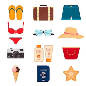 Ilustração do vetor dos ícones e dos objetos do verão.