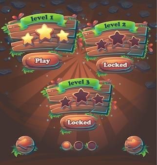 Ilustração do vetor dos níveis da janela da interface do usuário do jogo de madeira