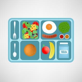 Ilustração do vetor. estilo plano. almoço escolar. alimentos saudáveis para estudantes.