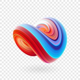 Ilustração do vetor: forma de fluido torcido 3d colorido abstrato. design moderno de líquido.