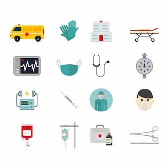 Ilustração do vetor ícones de reanimação de ambulância