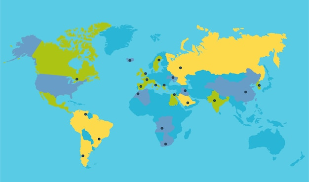 Ilustração do vetor mapa político mundial