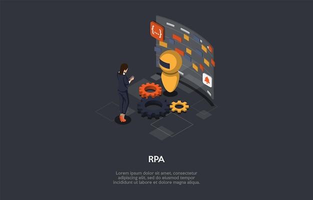 Ilustração do vetor no estilo dos desenhos animados 3d. composição isométrica com personagens e objetos. conceito de automação de trabalho de processos robóticos. tecnologia de software moderna, programação de inteligência artificial.