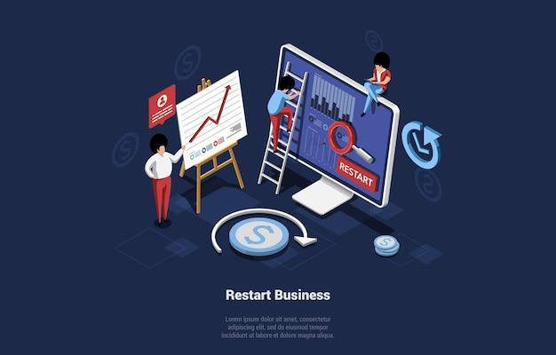 Ilustração do vetor no estilo dos desenhos animados 3d do conceito de reinício de negócios. composição isométrica com infográficos em fundo escuro. personagens da equipe de escritório trabalhando no computador e relançamento da empresa.