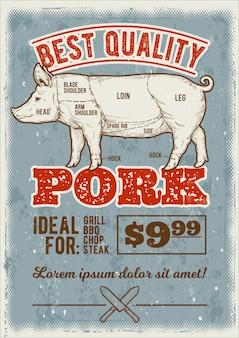 Ilustração do vetor porco na gravura do estilo