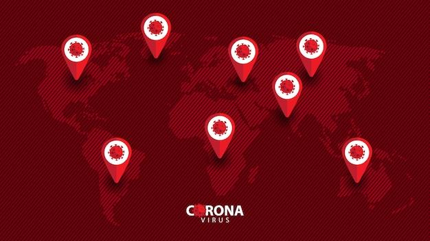 Ilustração do vírus corona com mapa, covid-19, 2019-ncov.