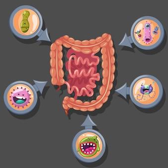 Ilustração do vírus intestinal