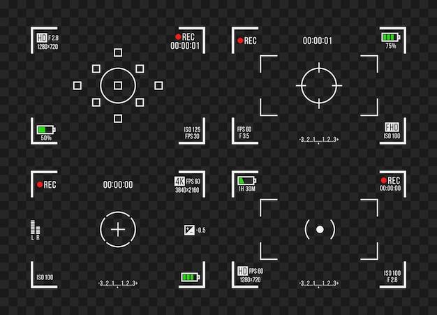 Ilustração do visor da câmera do gravador