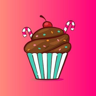 Ilustração doce de cupcake em sabor de chocolate