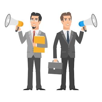Ilustração, dois empresários segurando alto-falantes e sorrindo, formato eps 10
