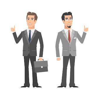 Ilustração, dois empresários sorrindo e mostrando os polegares para cima, formato eps 10