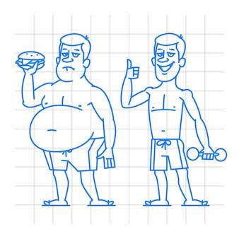 Ilustração, doodle de personagens de homens grossos e magros, formato eps 10