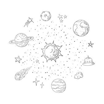 Ilustração doodle do sistema solar