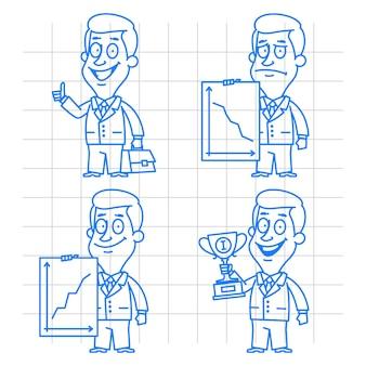 Ilustração, doodle sucesso e fracasso do empresário, formato eps 10