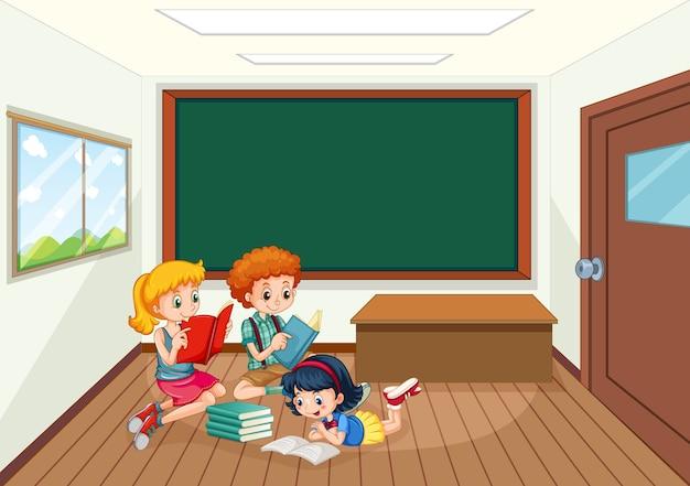 Ilustração dos alunos na sala de aula