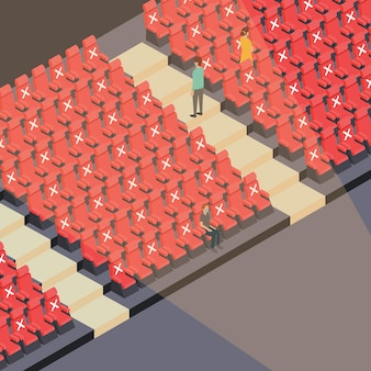 Ilustração dos assentos do teatro durante o novo normal