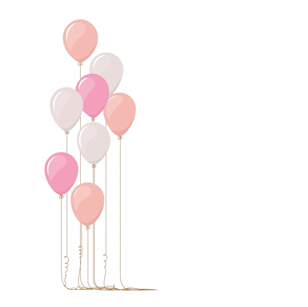 Ilustração dos balões cor-de-rosa isolados no fundo branco.