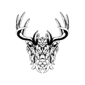Ilustração dos cervos de mecha.
