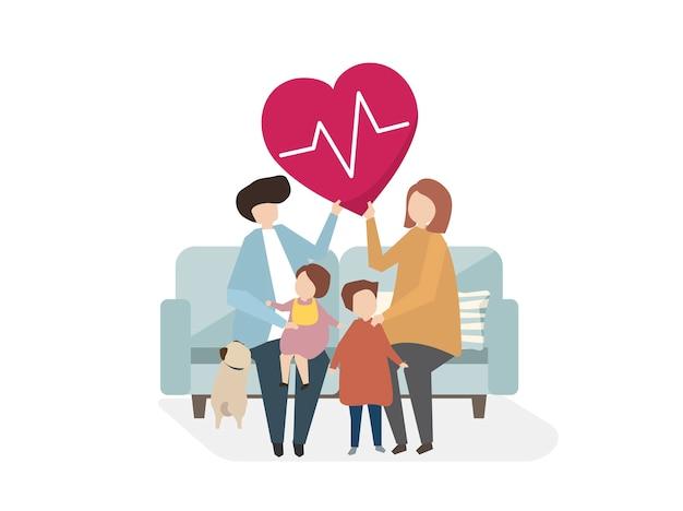 Ilustração dos cuidados de saúde da família