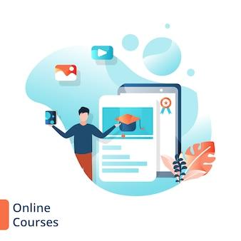 Ilustração dos cursos on-line da página de destino, educação on-line,