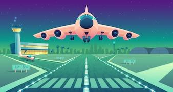 Ilustração dos desenhos animados, avião branco, jato sobre a pista. Decolagem ou pouso de avião comercial