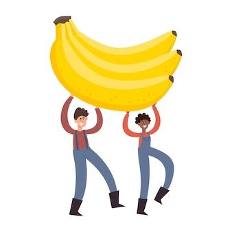 Ilustração dos desenhos animados com minúsculo homem e mulher segurando bananas isoladas em branco.