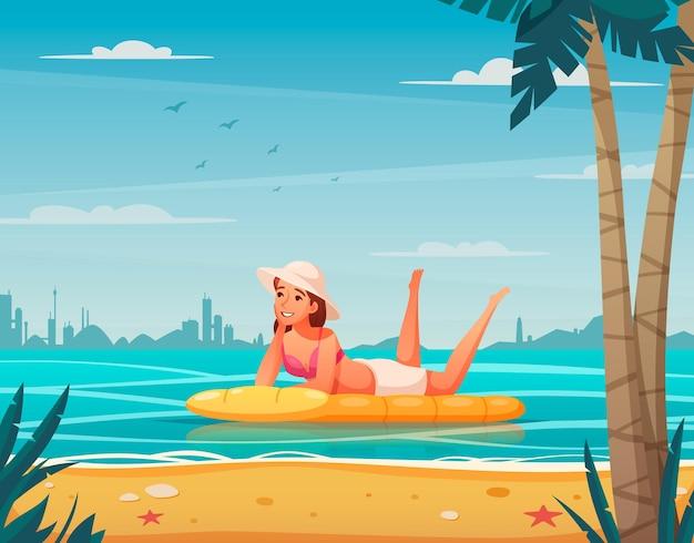 Ilustração dos desenhos animados com mulher relaxando na cama inflável férias de verão ou férias