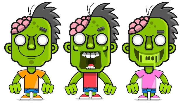 Ilustração dos desenhos animados com zumbi verde