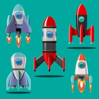 Ilustração dos desenhos animados conjunto isolado lançamento de foguete. foguetes da missão espacial com fumaça