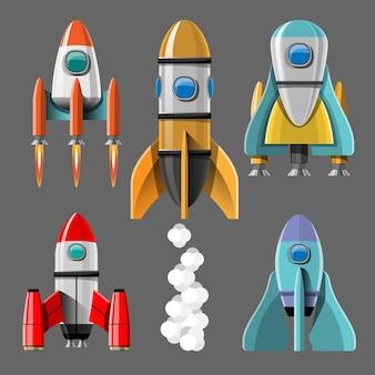 Ilustração dos desenhos animados conjunto isolado lançamento de foguete. foguetes de missão espacial com fumaça. ilustração em estilo simples
