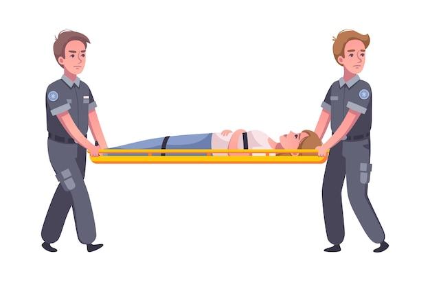Ilustração dos desenhos animados da ambulância paramédica com dois médicos e uma mulher na maca
