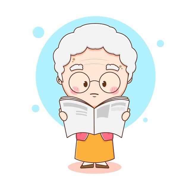 Ilustração dos desenhos animados da avó adorável lendo jornal