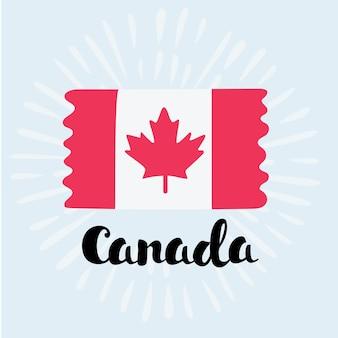 Ilustração dos desenhos animados da bandeira do canadá