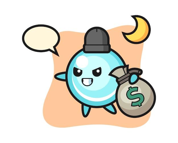 Ilustração dos desenhos animados da bolha é roubada o dinheiro, design de estilo bonito
