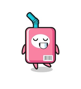 Ilustração dos desenhos animados da caixa de leite com uma expressão tímida, design de estilo fofo para camiseta, adesivo, elemento de logotipo