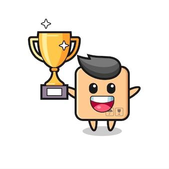 Ilustração dos desenhos animados da caixa de papelão está feliz segurando o troféu dourado, design de estilo fofo para camiseta, adesivo, elemento de logotipo