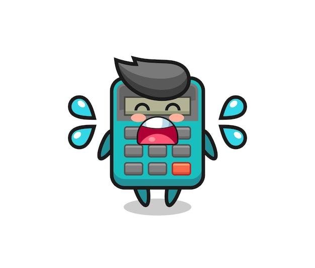 Ilustração dos desenhos animados da calculadora com gesto de choro, design de estilo fofo para camiseta, adesivo, elemento de logotipo