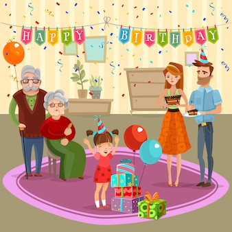 Ilustração dos desenhos animados da celebração da casa do aniversário da família