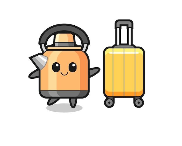 Ilustração dos desenhos animados da chaleira com bagagem de férias, design de estilo fofo para camiseta, adesivo, elemento de logotipo